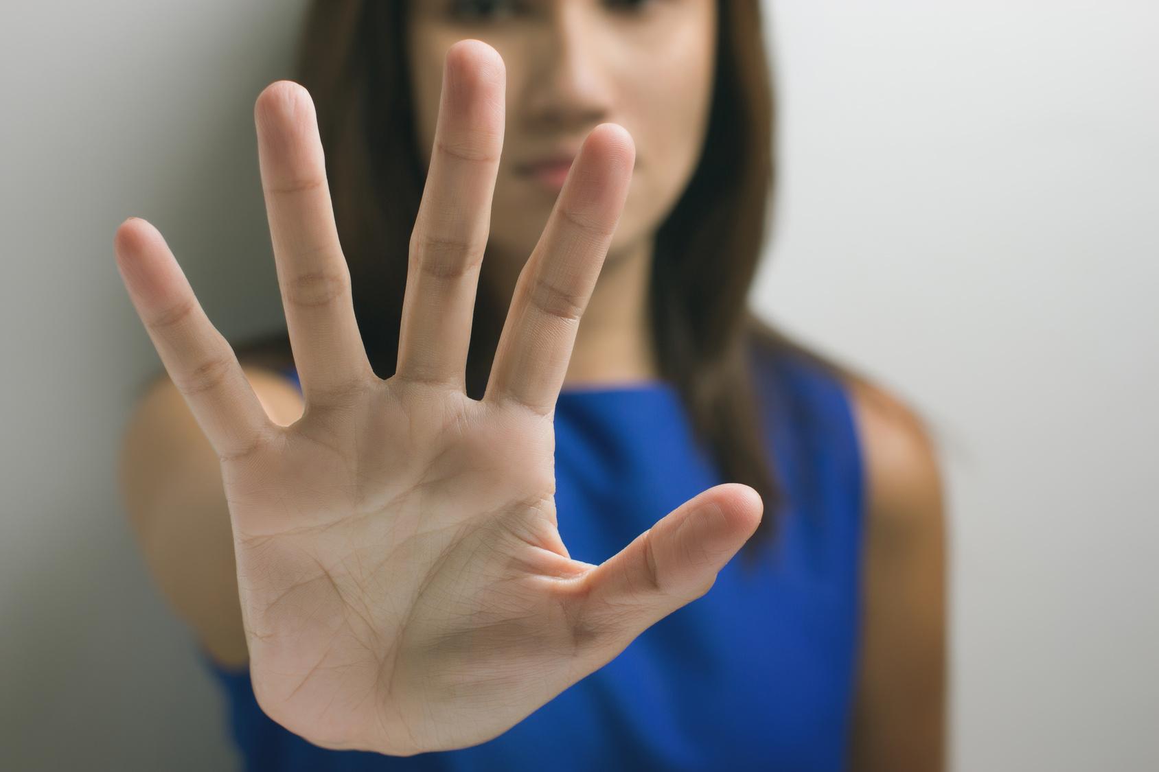 Grenzen Stellen Hand Scared Woman Stop To